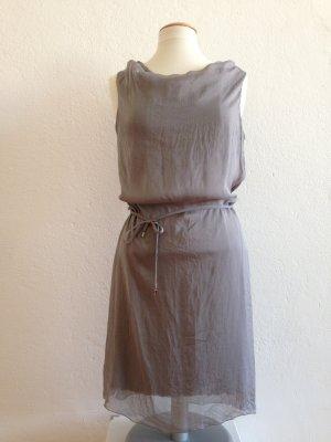 Hallhuber Kleid, Chiffonkleid, Abendkleid, 100% Seide, grau, Gr.40