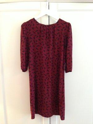 Hallhuber Kleid, Seidenkleid, 100% Seide, weinrot, schwarze Pferde, Gürtel, 3/4 Länge Arm