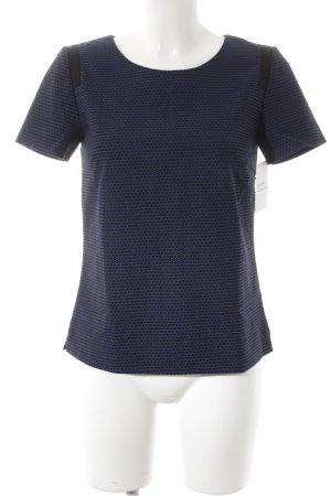 Hallhuber Kurzarm-Bluse blau-schwarz Punktemuster Elegant