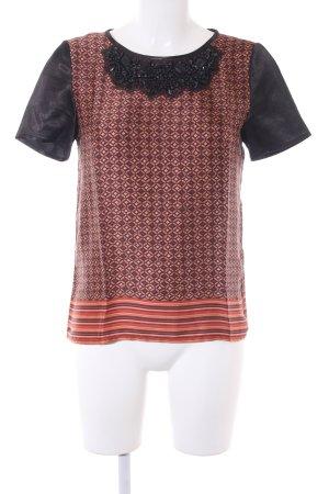 Hallhuber Kurzarm-Bluse grafisches Muster extravaganter Stil