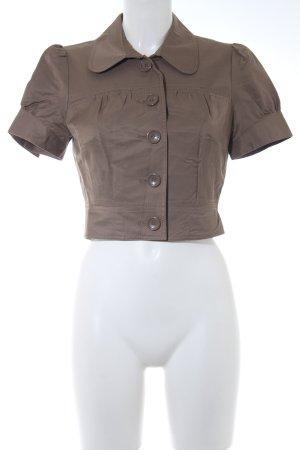 Hallhuber Kurzarm-Bluse graubraun Casual-Look