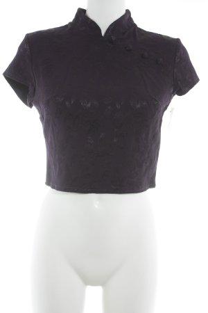 Hallhuber Kurzarm-Bluse lila-schwarz Elegant
