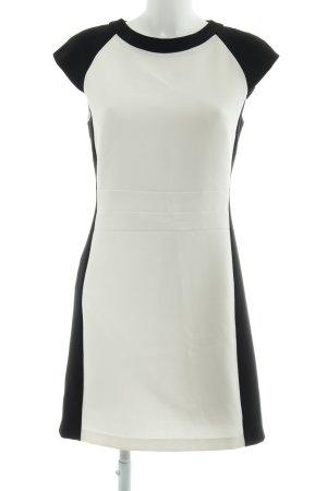 Hallhuber Kurzarmkleid schwarz-hellbeige Streifenmuster Business-Look