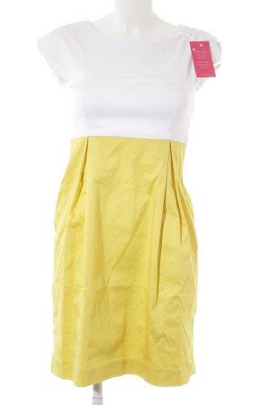 Hallhuber Kurzarmkleid weiß-gelb Casual-Look