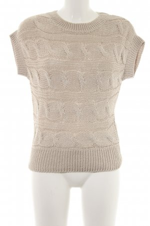Hallhuber Short Sleeve Sweater cream loosely knitted pattern casual look