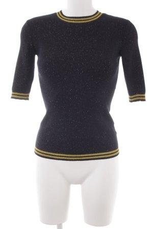 Hallhuber Short Sleeve Sweater yellow-dark blue striped pattern glittery