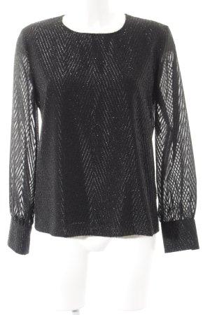Hallhuber Langarm-Bluse schwarz Streifenmuster Glitzer-Optik