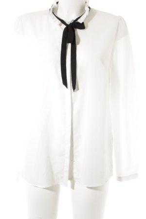 Hallhuber Langarm-Bluse schwarz-weiß Business-Look