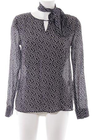 Hallhuber Langarm-Bluse schwarz-weiß Herzmuster Elegant