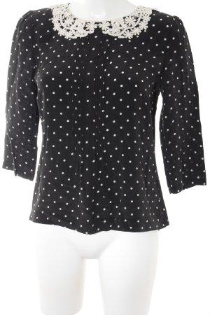 Hallhuber Langarm-Bluse schwarz-weiß Punktemuster Romantik-Look