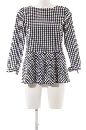 Hallhuber Langarm-Bluse schwarz-weiß Vichykaromuster klassischer Stil
