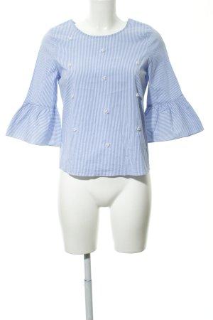 Hallhuber Langarm-Bluse stahlblau-weiß Streifenmuster Elegant