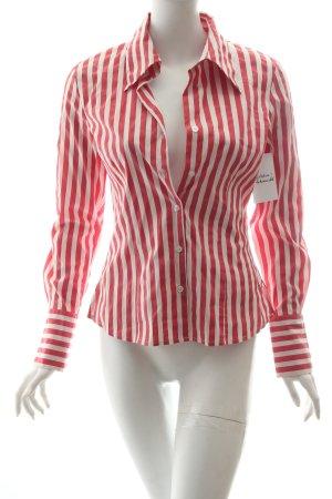 Hallhuber Langarm-Bluse weiß-hellrot Streifenmuster klassischer Stil