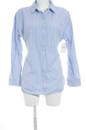 Hallhuber Langarm-Bluse weiß-neonblau Streifenmuster klassischer Stil