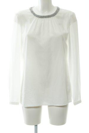 Hallhuber Langarm-Bluse weiß-silberfarben Elegant