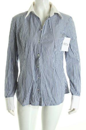 Hallhuber Langarmhemd weiß-blau Streifenmuster schlichter Stil