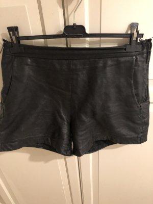 Hallhuber Pantalón de cuero negro