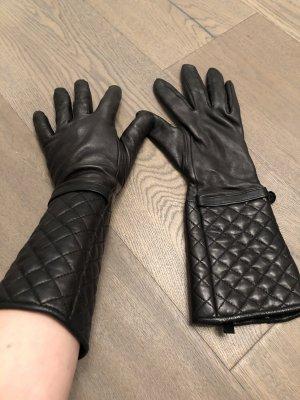 HALLHUBER Lederhandschuh mit gestepptem Armschaft
