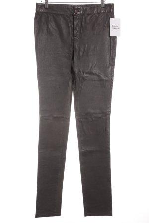 Hallhuber Leren broek grijs Biker-look
