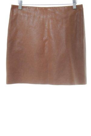 Hallhuber Falda de cuero marrón estilo sencillo