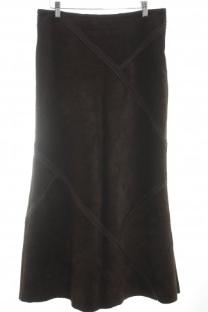 Hallhuber Leather Skirt dark brown classic style