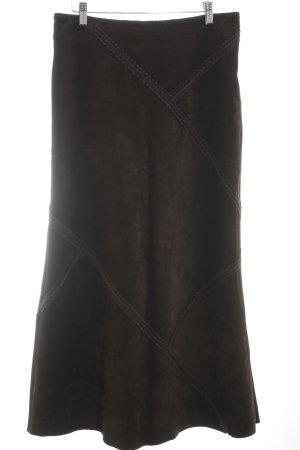 Hallhuber Falda de cuero marrón oscuro estilo clásico