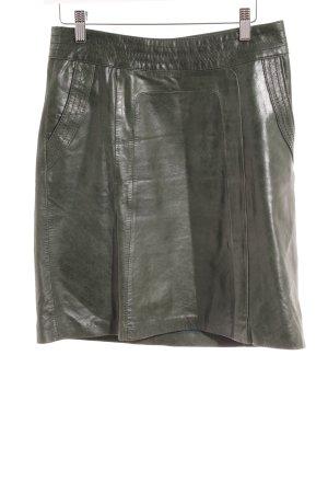Hallhuber Lederrock dunkelgrün Glanz-Optik