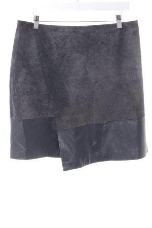 Hallhuber Lederrock grau-schwarz Street-Fashion-Look