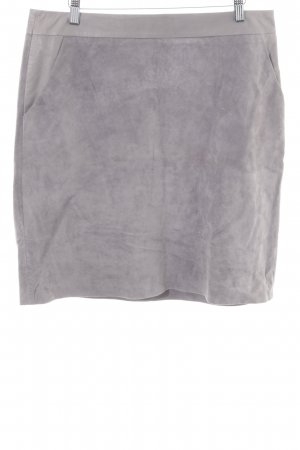 Hallhuber Leather Skirt light grey classic style