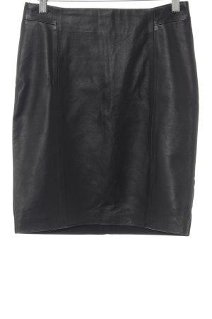 Hallhuber Falda de cuero negro estilo clásico