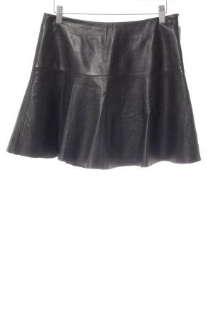 Hallhuber Falda de cuero negro estilo rockabilly