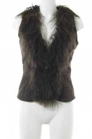 Hallhuber Leather Vest dark brown animal print