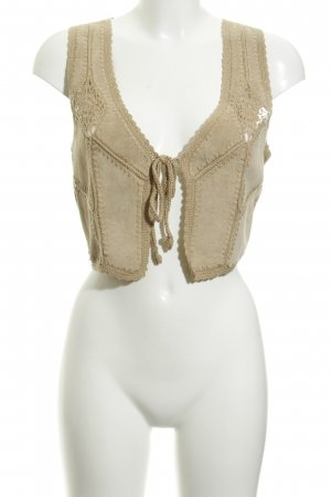 Hallhuber Leather Vest gold-colored loosely knitted pattern Boho look