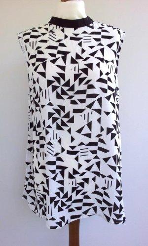 Hallhuber Longbluse in 40, Weiß / Schwarz, Chiffon Grafikprint