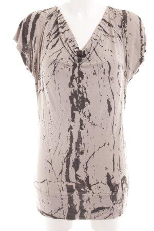 Hallhuber Longshirt hellgrau-schwarz Farbtupfermuster Casual-Look