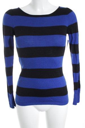 Hallhuber Longsleeve schwarz-blau Streifenmuster Casual-Look