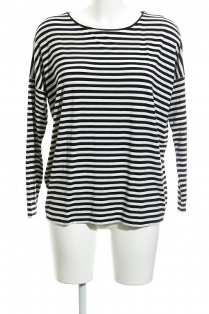 Hallhuber Top à manches longues noir-blanc motif rayé style décontracté