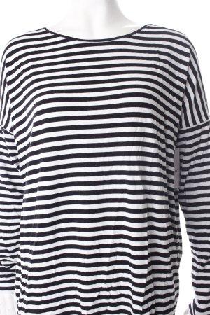 Hallhuber Longsleeve schwarz-weiß Streifenmuster klassischer Stil