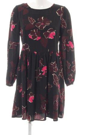 Hallhuber Mantelkleid schwarz-pink Blumenmuster Elegant