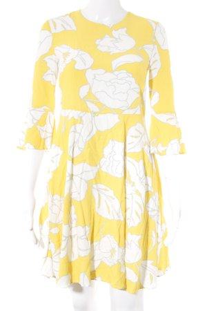 Hallhuber Midi-jurk wit-geel bloemenprint Beach-look