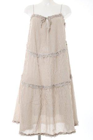 Hallhuber Midikleid wollweiß-beige Streifenmuster Casual-Look