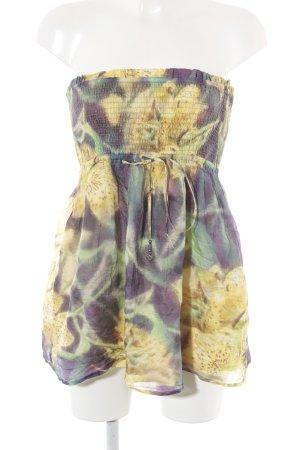 Hallhuber Minikleid dunkelgelb-braunviolett Farbtupfermuster Casual-Look