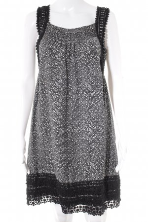 Hallhuber Mini Dress black-white flower pattern casual look