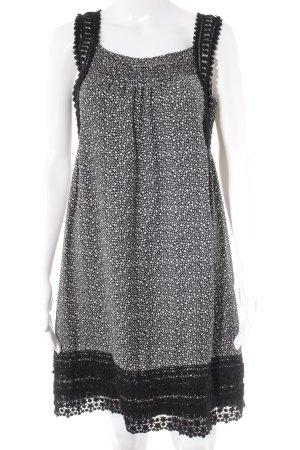 Hallhuber Minikleid schwarz-weiß Blumenmuster Casual-Look