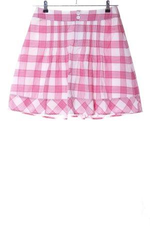Hallhuber Minirock pink-weiß Karomuster Casual-Look