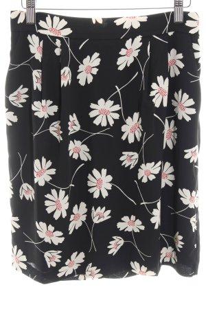 Hallhuber Minirock schwarz Blumenmuster Casual-Look
