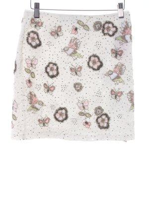 Hallhuber Minirock wollweiß-silberfarben florales Muster Romantik-Look