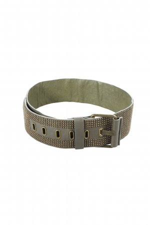 Hallhuber Studded Belt green grey-gold-colored biker look