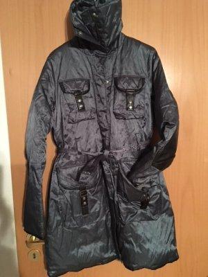 Hallhuber Manteau en duvet brun noir-bleu acier tissu mixte