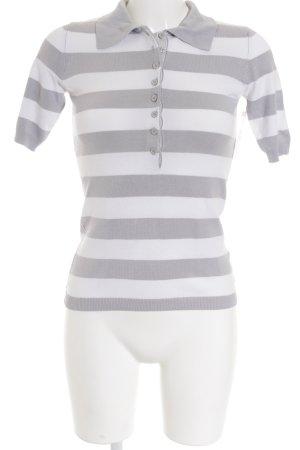 Hallhuber Polo-Shirt hellgrau-weiß Streifenmuster Casual-Look